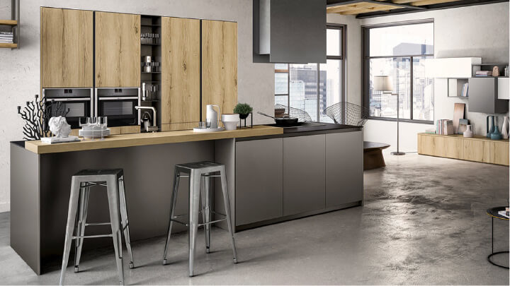 The kitchen with an island