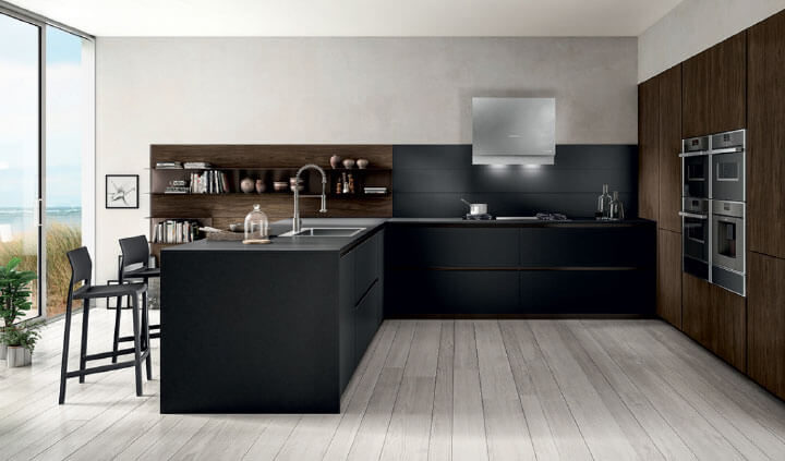 The kitchen with a peninsula