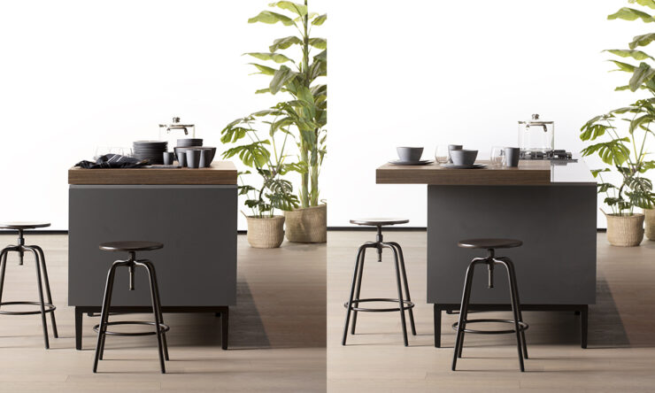 The perfect partner for your daily routine - Arredo3's slide-out snack counter
