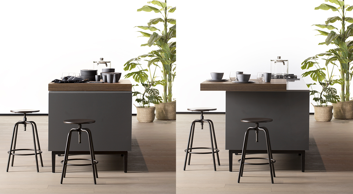 The perfect partner for your daily routine – Arredo3's slide-out snack counter